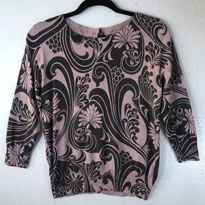 Boden Sz 8 Floral Button Back 3/4 Sleeves Sweater